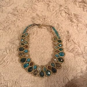 Charming Charlie Jewelry - Blue and Gold Beaded Bib Necklace